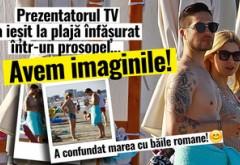 A confundat marea cu băile romane! Prezentatorul TV a ieşit la plajă înfăşurat într-un prosopel…