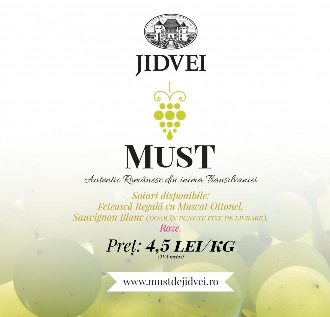 Au mai rămas 3 zile în care puteți comanda Must de la Jidvei