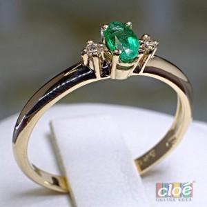 Inel din Aur cu Smarald si Diamante 020SMDI