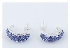 Cercei din argint 925 cu cristale albe si mov
