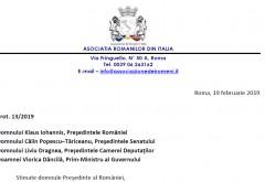 """Scrisoare deschisa a Asociatiei Romanilor din Italia pentru presedinte, Parlament si Guvern. Se cere inlocuirea termenului """"diaspora"""" cu """"romanii din strainate"""""""
