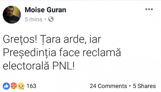 "S-a prins si propaganda cum sta treaba cu Iohannis. Moise Guran il face ""gretos"" pe Werner si-l acuza de campanie pro-PNL"