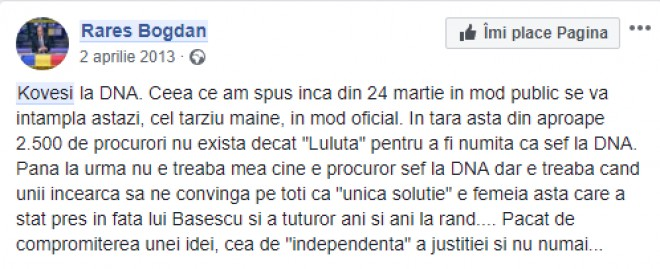 """Ce spunea Rares Bogdan in 2013 despre Kovesi: """"Luluta sta pres in fata lui Basescu. S-a compromis ideea de independenta a justitiei"""""""