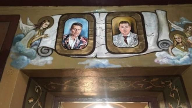 Chipurile a doi afaceristi, prieteni buni cu Valentin Dragnea, pictate pe pereții unei biserici din Teleorman