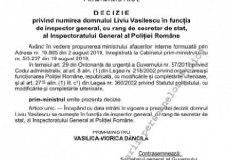 BREAKING - Cine este noul şef al Poliţiei Române