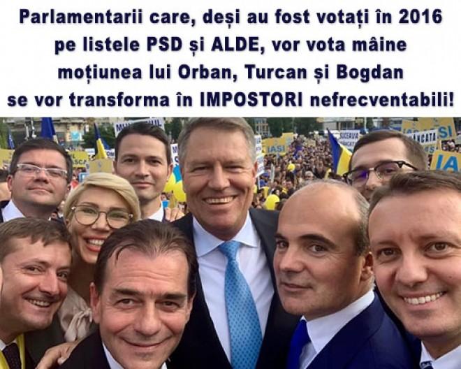 Liviu Plesoianu: Parlamentarii care, deși au fost votați în 2016 pe listele PSD și ALDE, vor vota mâine moțiunea lui Orban, Turcan și Bogdan se vor transforma în IMPOSTORI nefrecventabili!