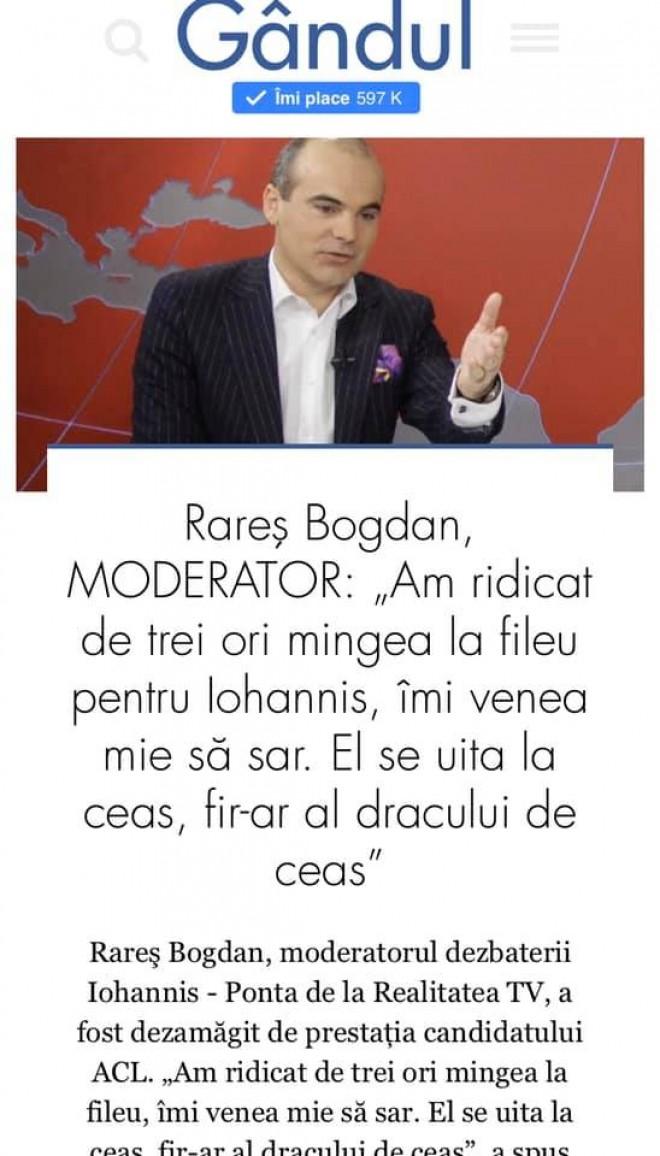 """Ce spunea Rares Bogdan in 2014 dupa dezbaterea Iohannis-Ponta: """"Iohannis se uita la ceas, fi-r-ar al dracului de ceas!"""""""
