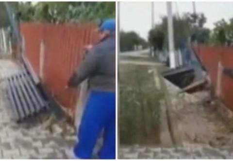 Un primar PNL a scos cu buldozerul toate bancile montate in fata portilor locuitorilor, nervos ca oamenii nu l-au votat
