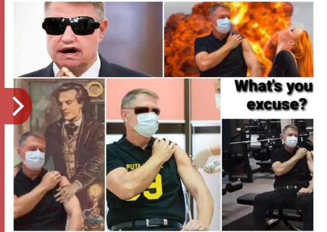 """Klaus Iohannis a făcut """"senzaţie"""" în timpul vaccinării antiCOVID. Muşchii Preşedintelui, motiv de glume pe internet. Imaginile care au devenit virale – FOTO"""