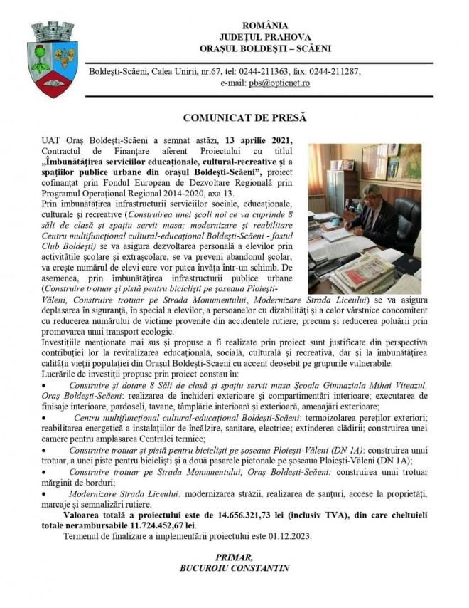 Primarul PSD din Boldesti Scaeni a obtinut finantare europeana de aproape 12 MILIOANE de lei. Cum vor fi folositi banii