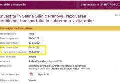 Trasparenta USR, doar vorbe goale de campanie! Deputatul Rodica Paraschiv nu a primit niciun rspuns de la Claudiu Nasui pe tema salinei Slanic