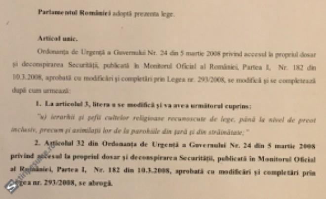 Lege pentru DECONSPIRAREA totală a preoților și ierarhilor colaboratori ai Securității