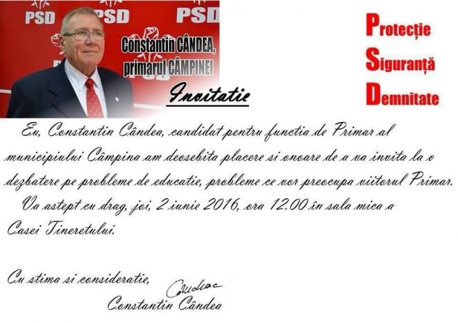 Constantin Candea (PSD) ii invita pe campineni la dezbatere