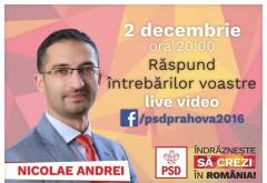 Andrei Nicolae, sesiune video LIVE cu alegatorii, pe Facebook. Cunoaste-l si tu pe cel mai tanar candidat din Prahova la alegerile parlamentare