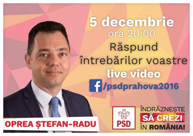 Senatorul Radu Oprea continua seria sesiunilor LIVE VIDEO cu alegatorii, pe Facebook. Unde ii poti adresa intrebari