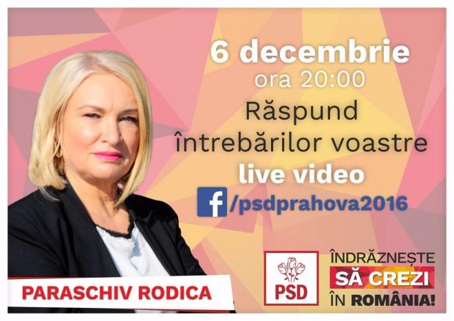 Cunoaste-ti candidatul/ Rodica Paraschiv (PSD Prahova) raspunde LIVE intrebarilor voastre, pe Facebook