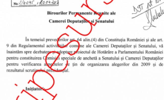 Comisia de ANCHETĂ a alegerilor prezidențiale din 2009 a fost înființată: Scandal cu PNL și PMP