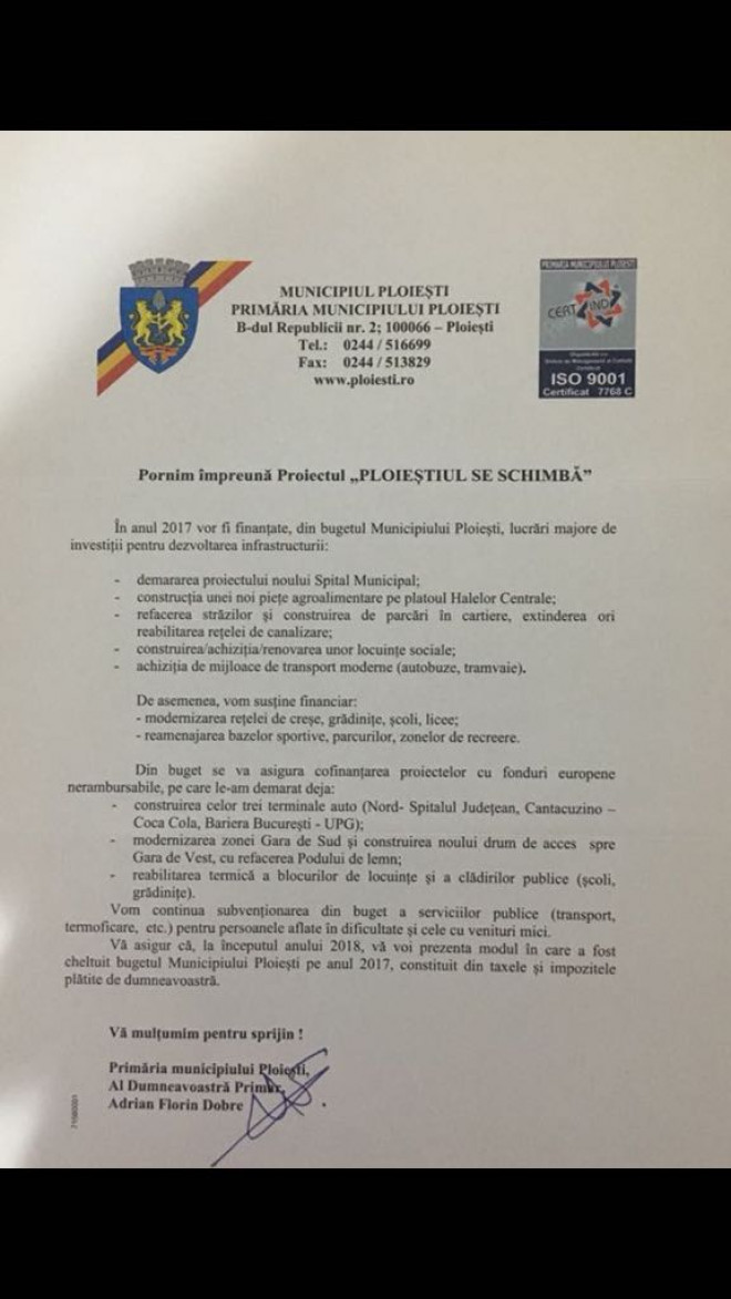 """NIMIC din ce a promis primarul Adrian Dobre la inceputul 2017 nu s-a realizat. Absolut ni-mic! Iata lista """"gogosilor"""" inghitite de ploiesteni"""