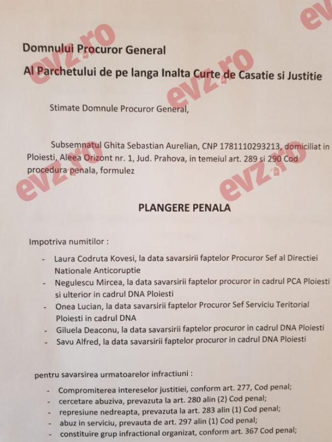 LOVITURA DECISIVĂ pentru Kovesi? Sebastian Ghiță i-a făcut PLÂNGERE PENALĂ șefei DNA. Avem documentul istoric pentru Justiţia din România