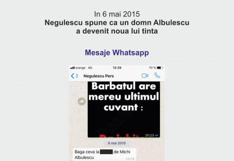 """Noi capturi Whatssap/ Cum vroia Negulescu sa-l """"arda"""" pe Albulescu"""