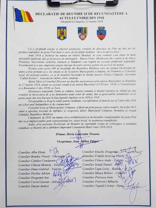 """PMP Campina a semnat Declarația de Reunire: """"Vă așteptăm cu drag la sânul patriei străbune"""""""