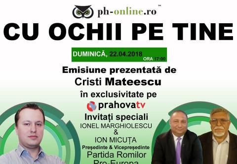 "Astazi, la ""Cu ochii pe tine"", pe Prahova TV/ Invitati reprezentantii partidei Romilor, filiala Prahova"