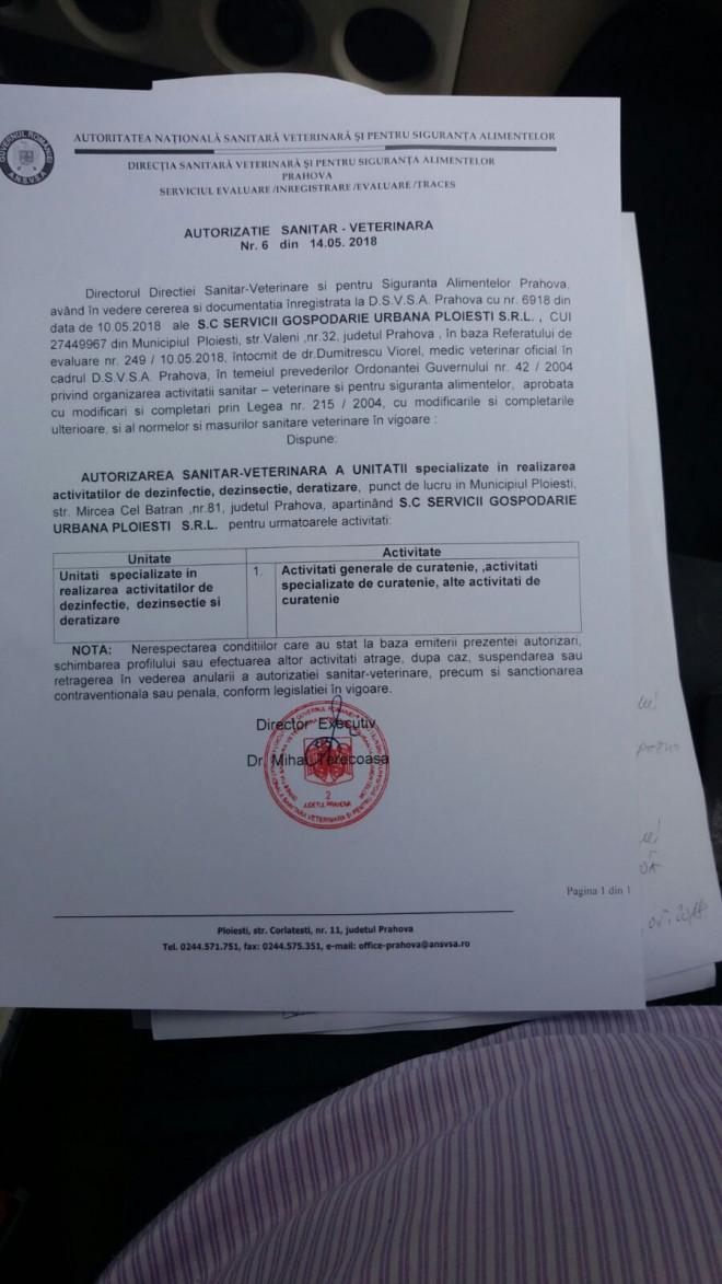 Primul pas a fost facut! SGU a primit autorizatie sanitar-veterinara pentru dezinsectie si deratizare