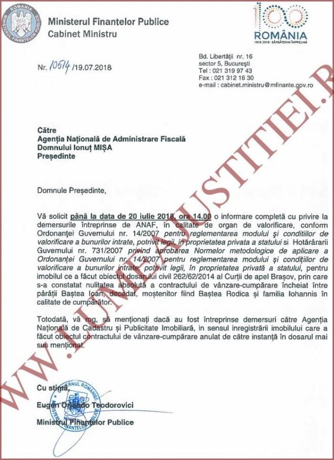 Ministrul Finantelor Orlando Teodorovici a pus biciul pe seful ANAF