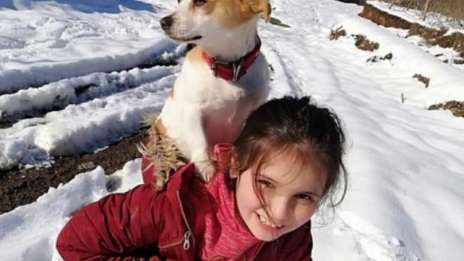 O fetiță de 9 ani și-a cărat câinele în spate doi kilometri, prin zăpadă, pentru a ajunge la veterinar