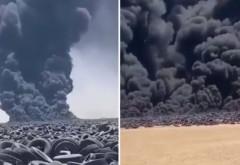 A luat foc cel mai mare depozit de anvelope uzate din lume. Fumul se vede din satelit