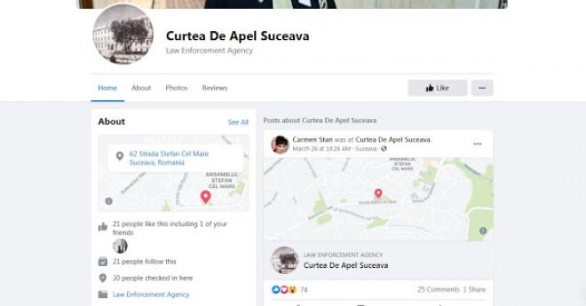 """Pagină de check-in generată automat de Facebook, reclamată penal de Curtea de Apel Suceava pentru """"fals informatic"""""""