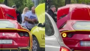 Faza anului în București: Milionar cu Ferrari de 450k luând curent de la un Uber