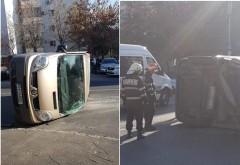 Accident in Ploiesti, pe str. Domnisori. Microbuz, rasturnat in urma impactului cu o alta masina