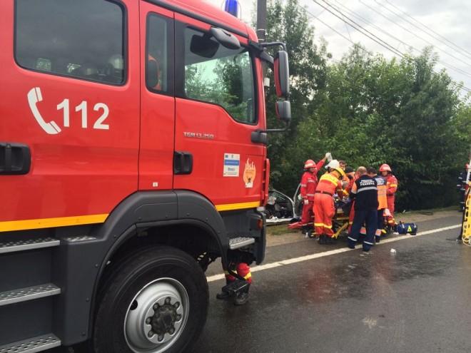 Accident pe DN1, la Romanesti. 4 masini implicate, trafic restrictionat
