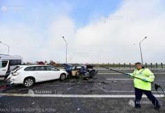 Accident în lanţ pe A3 - opt autoturisme implicate; o persoană rănită