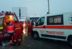 Accident pe DN1, la Comarnc. Doua victime dupa ce un microbuz de pasageri a intrat intr-un autoturism