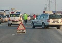 Accident pe DN1, la Movila Vulpii. Doua masini s-au facut zob, una a ajuns pe calea ferata
