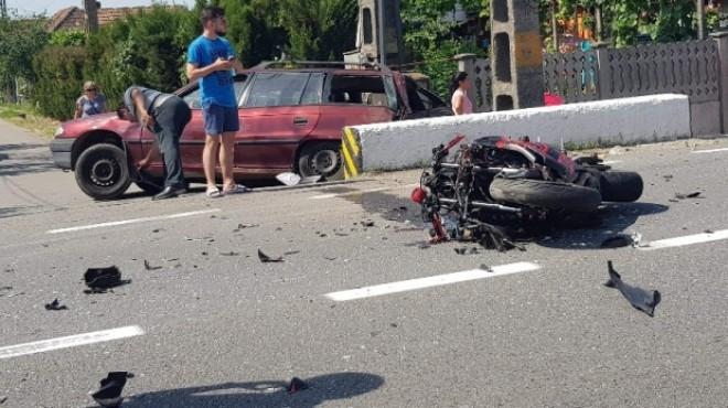 Accident pe DN1, la Breaza. Un motociclist a fost lovit de masina