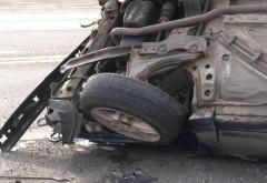 O mașină s-a răsturnat pe DN 1. Restricții de circulație în zona Nistorești - Comarnic