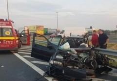 Accident MORTAL pe A1 - Două persoane au decedat și alți doi minori sunt în comă. Circulația este deviată