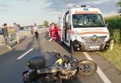 Accident pe DN1, zona Movila Vulpii. Un motociclist a fost preluat de elicopterul SMURD