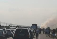 Un autoturism a luat foc pe Autostrada Soarelui. Aglomerație mare pe sensul de mers spre București