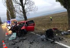 Accident mortal la Albesti. Un sofer a intrat cu masina in copac, pasagerul a decedat