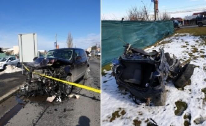 Accident TERIBIL pe DN1 - BMW rupt în două, dupa impactul cu un Range Rover