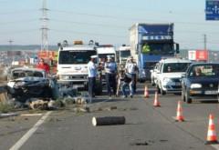 Accident pe Centura de Vest Ploiesti. Un barbat a ramas blocat in masina strivita de o basculanta