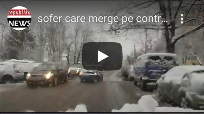Ploieşti: Imagini ireale. A condus pe contrasens, pe drum aglomerat şi plin de zăpadă. Şoferii au evitat impactul
