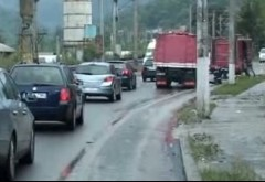 Trafic blocat mai multe ore pe DN 1, din cauza unei grinde de beton