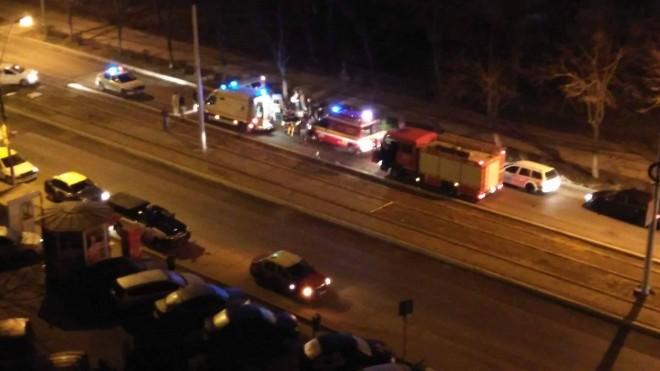 Accident pe Soseaua Vestului. O masină s-a răsturnat FOTO