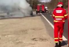 VIDEO cu maşina cuprinsă de flăcări pe DN1