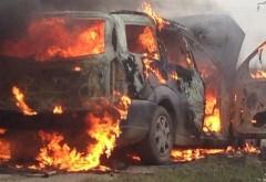 Maşină în flăcări pe autostrada Bucureşti - Ploieşti. Şoferul s-a salvat în ultima clipă